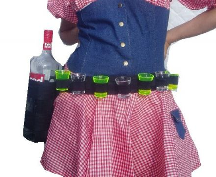 Shot Glass Waist Worn Belt With 1 Standard Round Bottle Holder